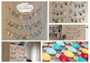 galletas decoradas calendario de adviento para colocar en la pared. Galletea