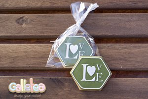 Galletas Decoradas Boda Love Hexagonal